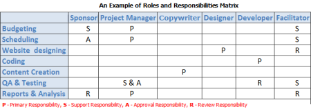 Roles and responsibilities matrix (RRM) representing project staffing needs