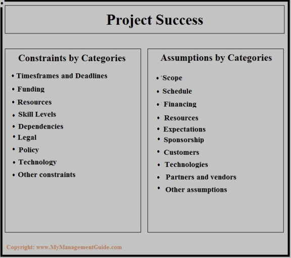 project constraints and project assumptions